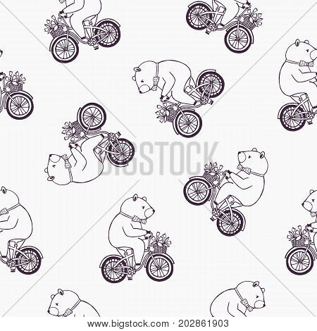 Lovely seamless pattern with funny cartoon bear wearing dotted bow tie and riding bicycle with basket full of tulip flowers. Vector illustration for wallpaper, textile print, wrapping paper, backdrop