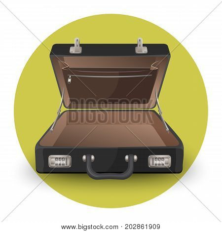 Open briefcase or suitcase with inside pocket on zipper vector illustration of empty personal diplomat isolated in green circle on white background
