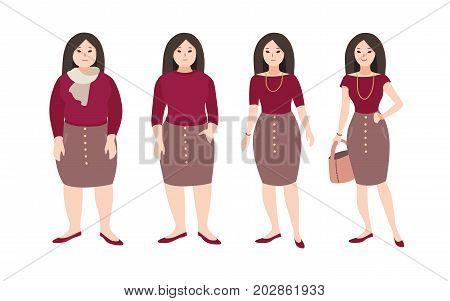 Progressive steps of young female cartoon character s body changing. Concept of weight loss through fitness workouts and proper nutrition. Vector illustration