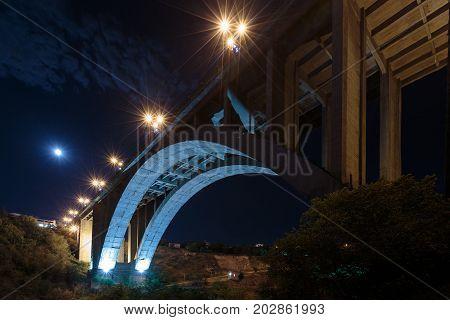 Grand Hrazdan Bridge Yerevan, Armenia.The Kievyan Bridge bottom view. One-arched bridge across the Hrazdan River in Yerevan