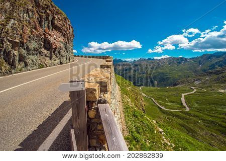 Alpine Pass Road in the Italy. St Bernard Pass in Summer.