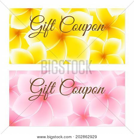 Gift Coupon, Gift certificate, Voucher, Invitation or Discount template with with flower (Plumeria, Frangipani pattern). Floral background design for invitation, ticket, gift flyer. Vector