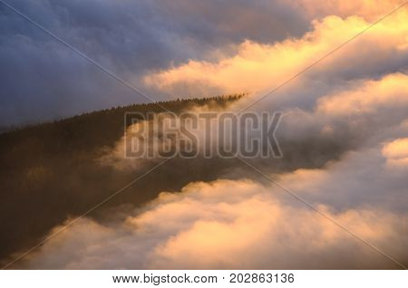Foggy detailed view from Jested mountain peak. Cold winter day. Liberec, Czech republic.