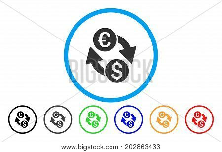 Coins Exchange rounded icon. Vector illustration style is a grey flat iconic coins exchange symbol inside a circle. Additional color variants are black, grey, green, blue, red, orange.