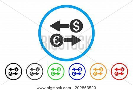 Currency Transactions rounded icon. Vector illustration style is a grey flat iconic currency transactions symbol inside a circle. Additional color variants are black, grey, green, blue, red, orange.