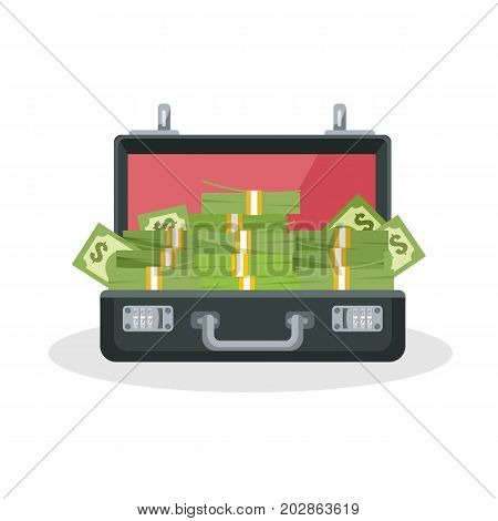 Opened black briefcase with metal handle and combination lock containing pile of cash inside isolated 3d vector illustration on white background.