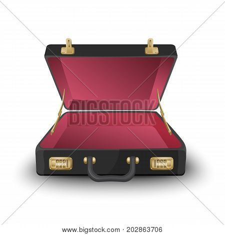 Open black-and-red briefcase isolated on white background. 3d vector illustration of empty leather attache case with combination lock