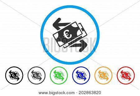 Euro Banknotes Payments rounded icon. Vector illustration style is a gray flat iconic euro banknotes payments symbol inside a circle. Additional color versions are black, gray, green, blue, red,