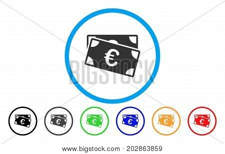 Euro Banknotes rounded icon. Vector illustration style is a gray flat iconic euro banknotes symbol inside a circle. Additional color variants are black, gray, green, blue, red, orange.