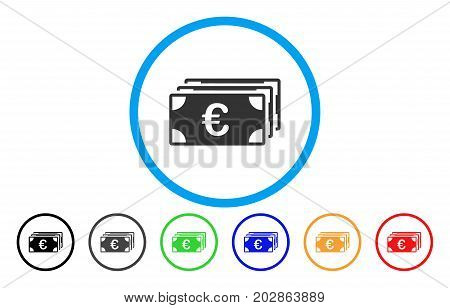 Euro Banknotes rounded icon. Vector illustration style is a grey flat iconic euro banknotes symbol inside a circle. Additional color variants are black, gray, green, blue, red, orange.