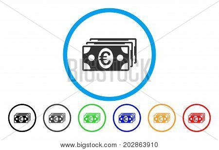 Euro Banknotes rounded icon. Vector illustration style is a grey flat iconic euro banknotes symbol inside a circle. Additional color versions are black, gray, green, blue, red, orange.