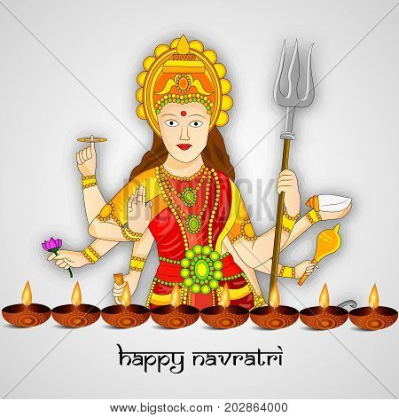 illustration of Hindu Goddess Durga and lamps with Happy Navratri text on the occasion of hindu festival Navratri