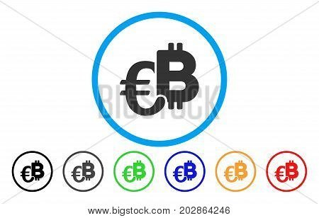 Euro Bitcoin Symbols rounded icon. Vector illustration style is a gray flat iconic euro bitcoin symbols symbol inside a circle. Additional color variants are black, gray, green, blue, red, orange.