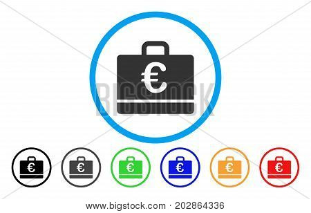 Euro Case rounded icon. Vector illustration style is a grey flat iconic euro case symbol inside a circle. Additional color versions are black, grey, green, blue, red, orange.