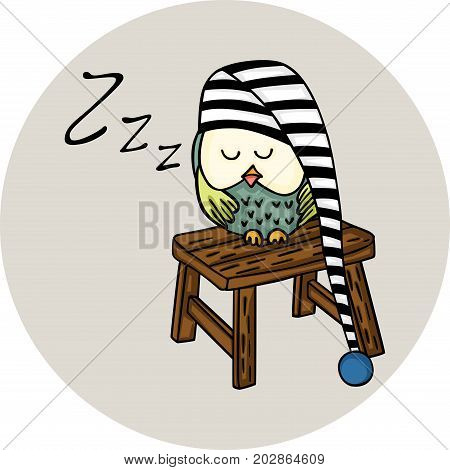 Scalable vectorial image representing a cute owl sleeping on wooden stool, isolated on white.