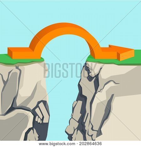 Orange arch-shaped arrow pointing to right spanning across deep rocky abyss against light blue sky background. 3d vector illustration.