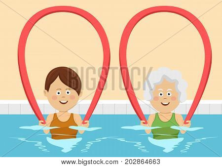 Young and elderly women using pool noodles in the swimming pool