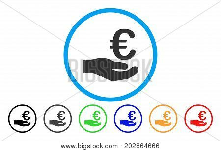 Euro Donation rounded icon. Vector illustration style is a grey flat iconic euro donation symbol inside a circle. Additional color variants are black, gray, green, blue, red, orange.