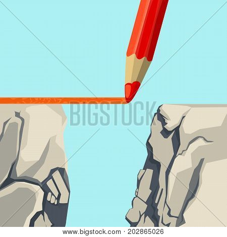 Not-finished straight red line drawn by colored pencil aimed at connecting two edges of steep abyss isolated vector illustration on light blue background