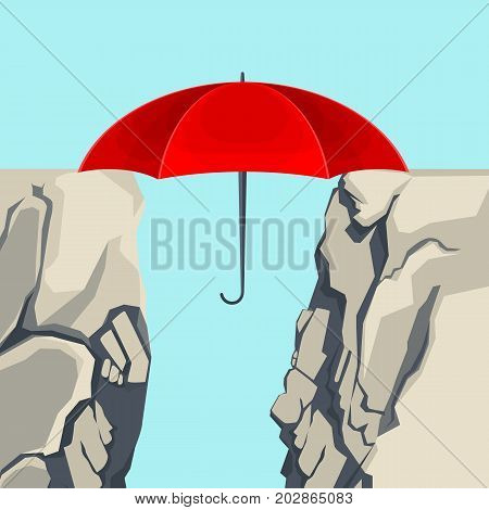 Unfolded umbrella hanging on edges of deep abyss forming bridge isolated vector illustration on light blue background. Red parasol covering gap
