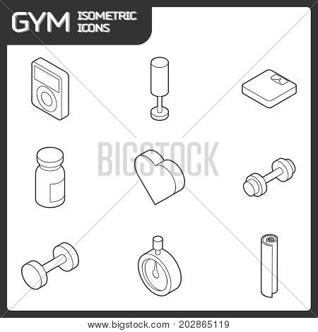 Gym outline isometric icons. Vector illustration, EPS 10