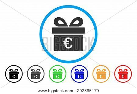 Euro Gift rounded icon. Vector illustration style is a gray flat iconic euro gift symbol inside a circle. Additional color versions are black, grey, green, blue, red, orange.