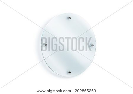 Blank round glass sign plate wall-mounted mockup 3d rendering. Clear circular acrylic signboard design mock up. Empty shiny nameplate holder fixed on white wall. Office door glassy signage template.