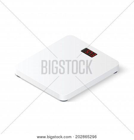 Digital floor scales on white background. Isometric vector illustration