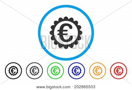 Euro Quality rounded icon. Vector illustration style is a grey flat iconic euro quality symbol inside a circle. Additional color variants are black, grey, green, blue, red, orange.