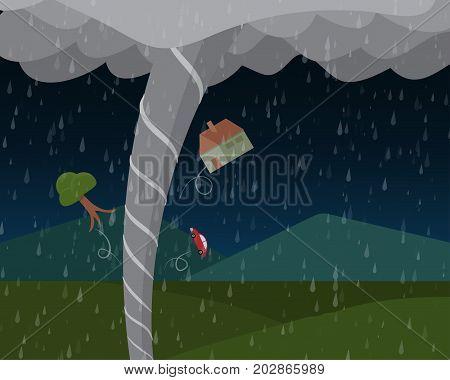Tornado in countryside in vector landscape design