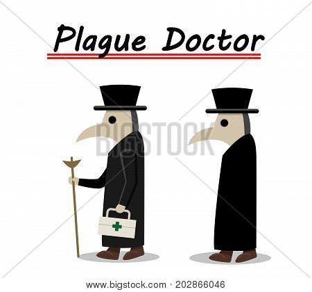 Plague doctor side view in flat vector design