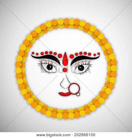 illustration of Hindu Goddess Durga face and floral design with Happy Navratri text on the occasion of hindu festival Navratri