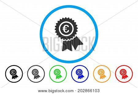 Euro Warranty rounded icon. Vector illustration style is a grey flat iconic euro warranty symbol inside a circle. Additional color versions are black, gray, green, blue, red, orange.