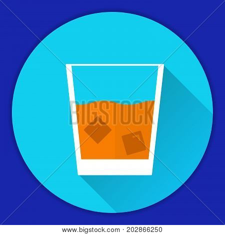 Glass Old Fashioned scotch whisky with ice cubes alcohol drink.whiskey on the rocks.Single malt whisky.Flat a vector an icon with a shadow.Made in Scotland.Alcoholic beverage.Rum, brandy shot glass.
