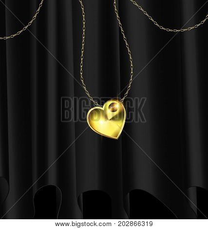 black background, dark drape and golden chain with jewelry heart