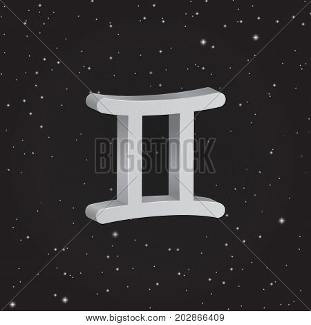 Gemini zodiac symbol 3D white zodiac icon on the background of black starry sky