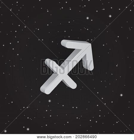Sagittarius zodiac symbol 3D white zodiac icon on the background of black starry sky