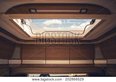 Importance of Air Ventilation Inside Motorhomes Travel Trailers and Camper Vans. Roof Vent Closeup.