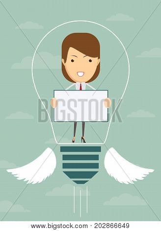 Woman sharing her idea .business and advertisement concept - smiling businesswoman holding white board in light bulb. Stock flat vector illustration.