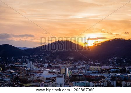 Sunset hdr picture over graz with orange sky