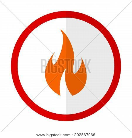 Fire warning flat icon, vector sign, colorful pictogram isolated on white. Symbol, logo illustration. Flat style design