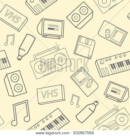 Stylish seamless pattern with old school attributes, electronic devices and music instruments on yellow background. Back to 90-s concept. Vector illustration for wallpaper, website backdrop