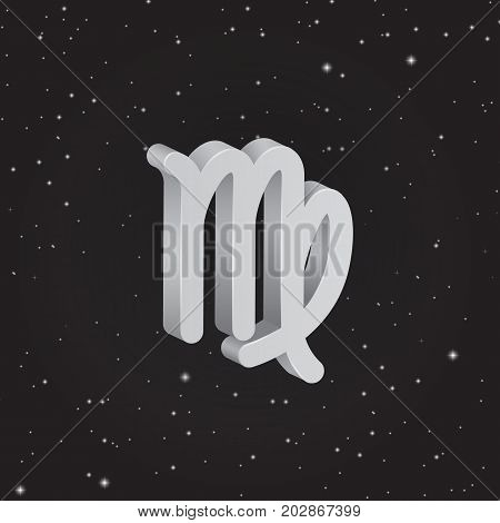 Virgo zodiac symbol 3D white zodiac icon on the background of black starry sky