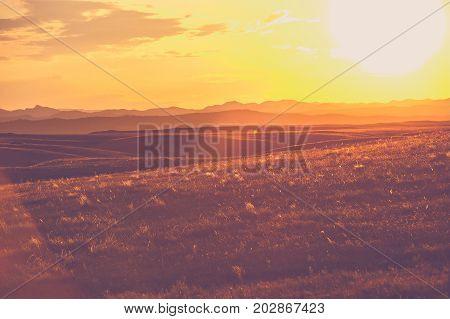 South Dakota Prairies. Sunset Scenery. United States of America.