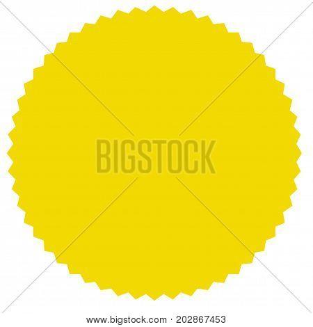 Vector starburst, sunburst badge. Yellow color. Simple flat style Vintage  label, sticker. Design elements. Vector illustration