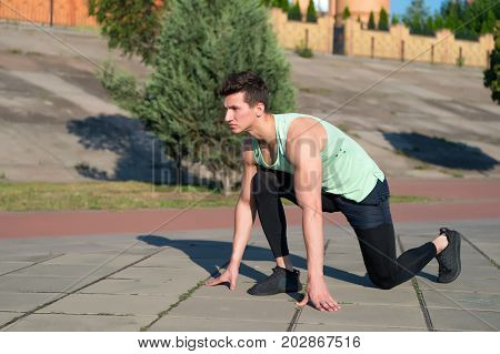 Man Runner At Starting Position
