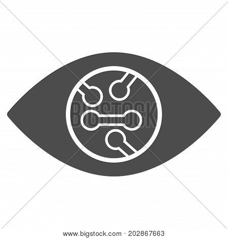 Digital Eye Lens vector pictograph. Style is flat graphic grey symbol.