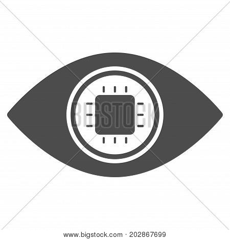 Electronic Eye Lens vector pictograph. Style is flat graphic grey symbol.