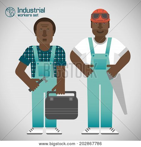 Set of industrial african workmen in blue uniform on white background with grey shade isolated vector illustration