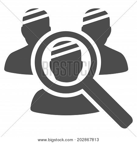 Explore Patients vector pictogram. Style is flat graphic gray symbol.